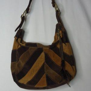 Lucky Brand Patchwork Corduroy Boho Hippie Bag